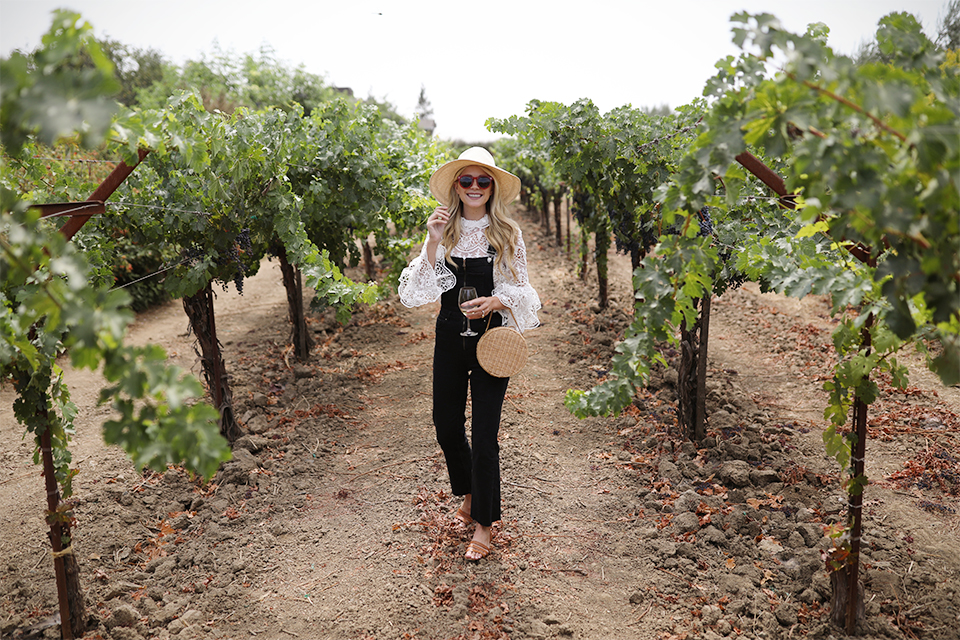 Atlantic Pacific // Wine Country, Denim Overalls & Lace Top