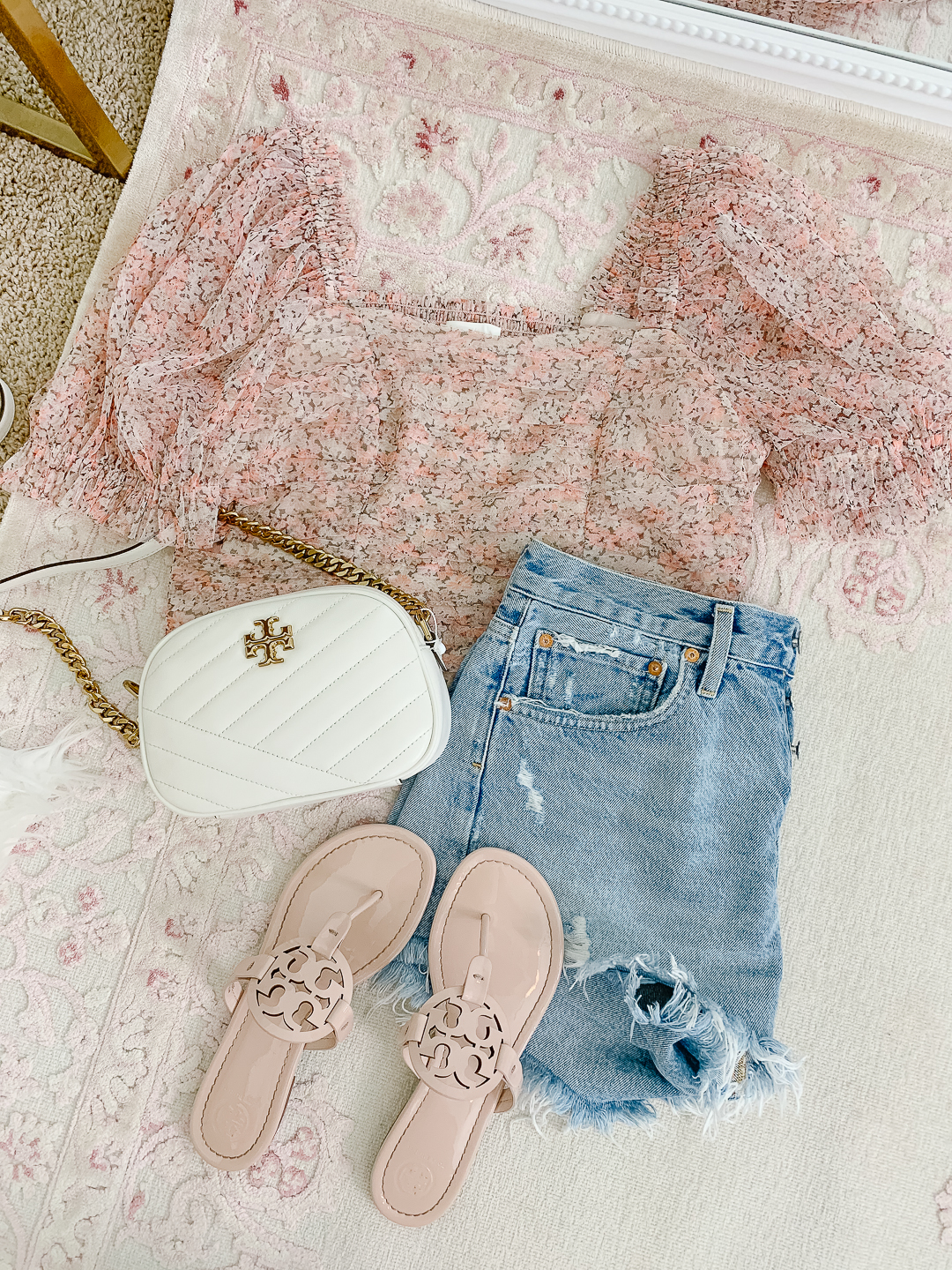 Tory Burch Miller Sandal and agolde jean shorts