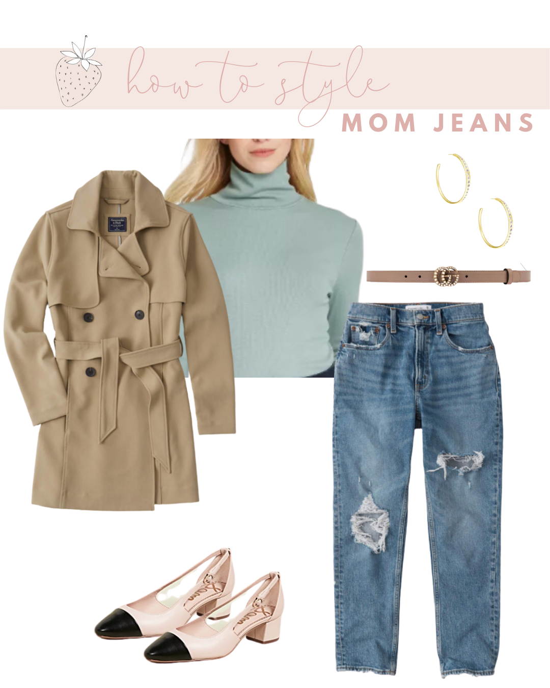 Mom Jeans with a Fitted Turtleneck and Sling Backs
