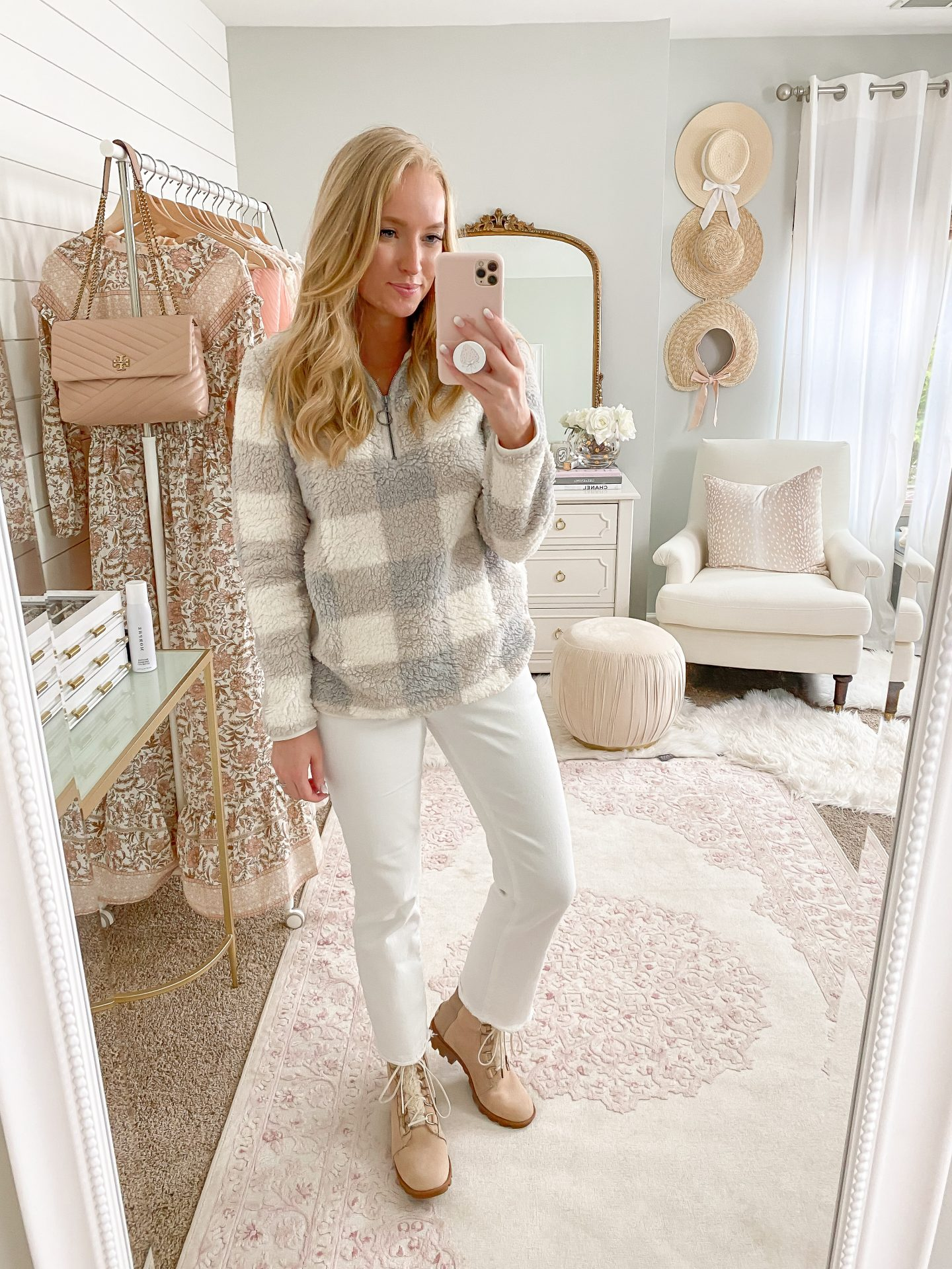 Cozy plaid Sherpa PopOver