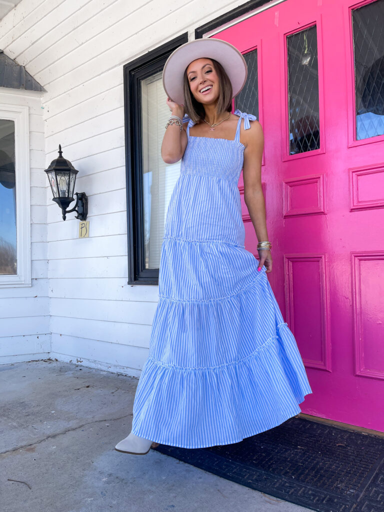 pink lily caitlin coving blue and white maxi dress