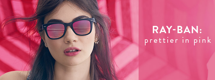 Ray-Ban: prettier in pink. Women's Ray-Ban sunglasses with pink lenses.