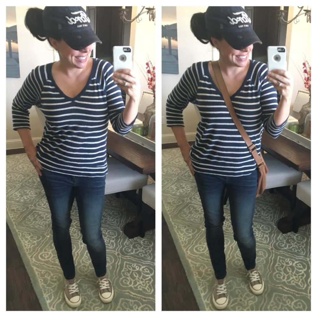 striped top, jeans, and converse