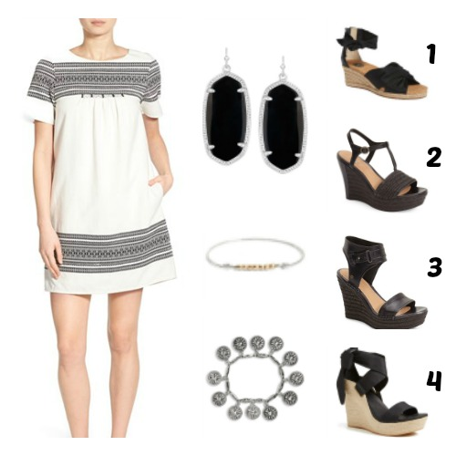 dress and wedge outfit