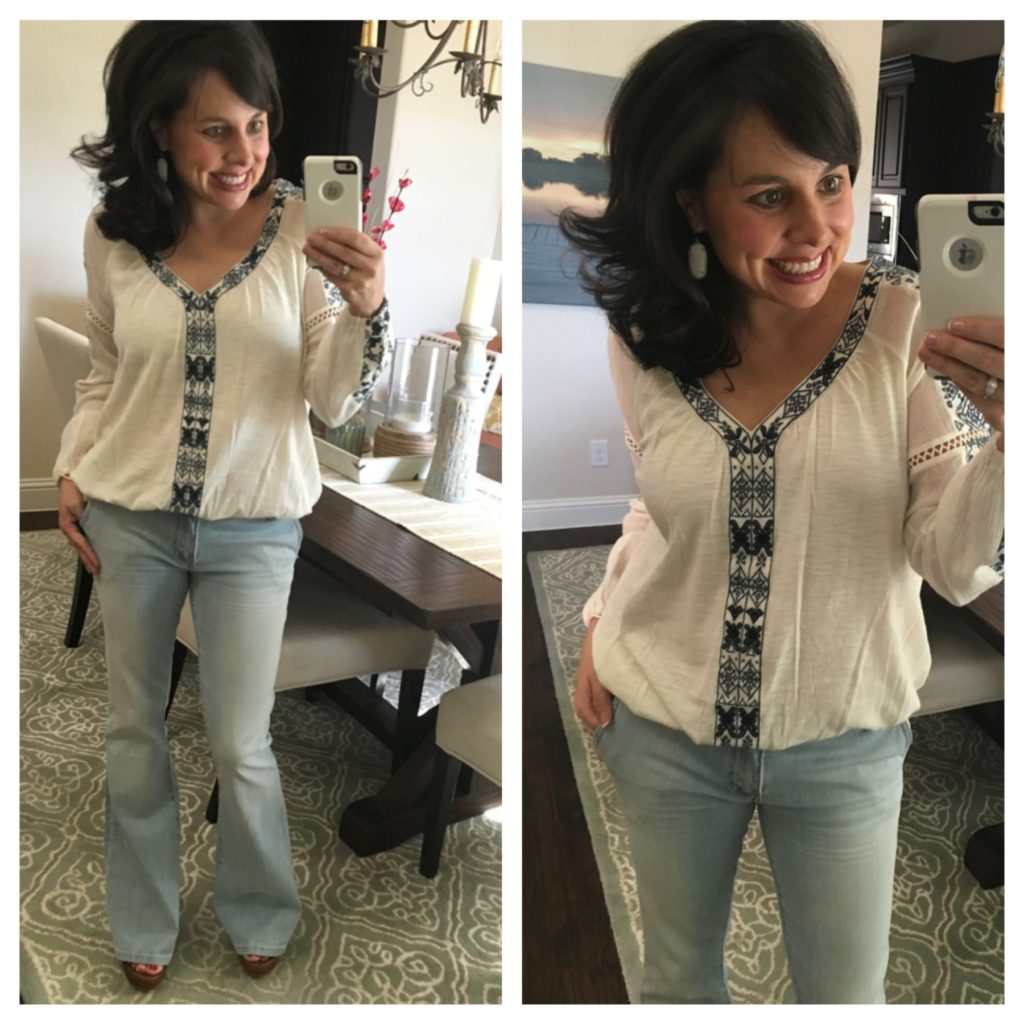 flare jeans and embroidered top