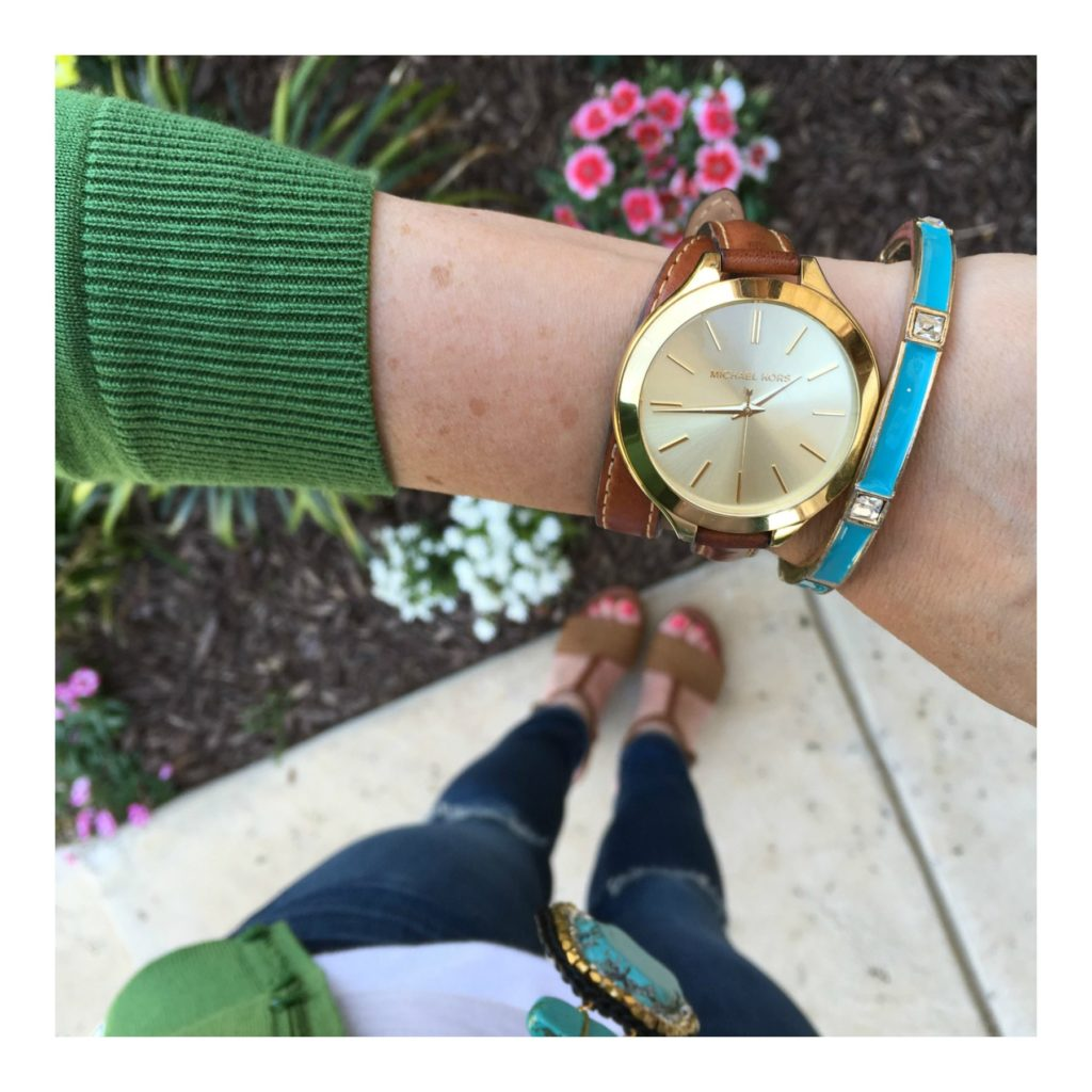 michael kors leather watch and bracelet