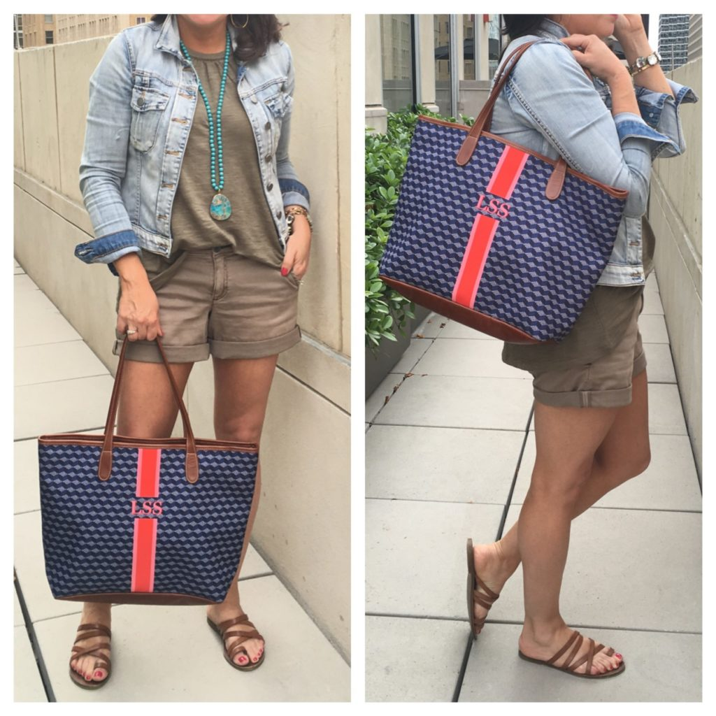 pilcro shorts and monogrammed bag