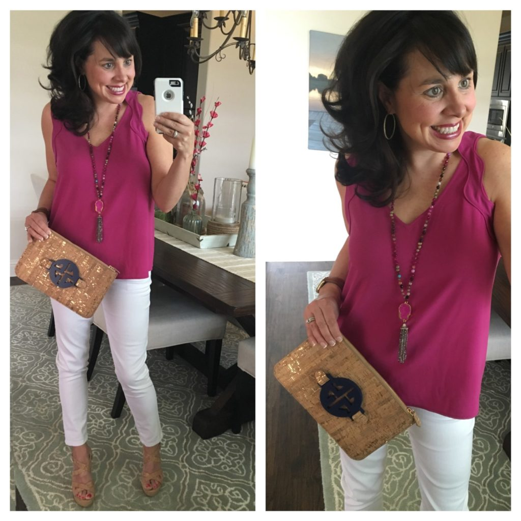 scalloped shirt, white jeans, and cork clutch