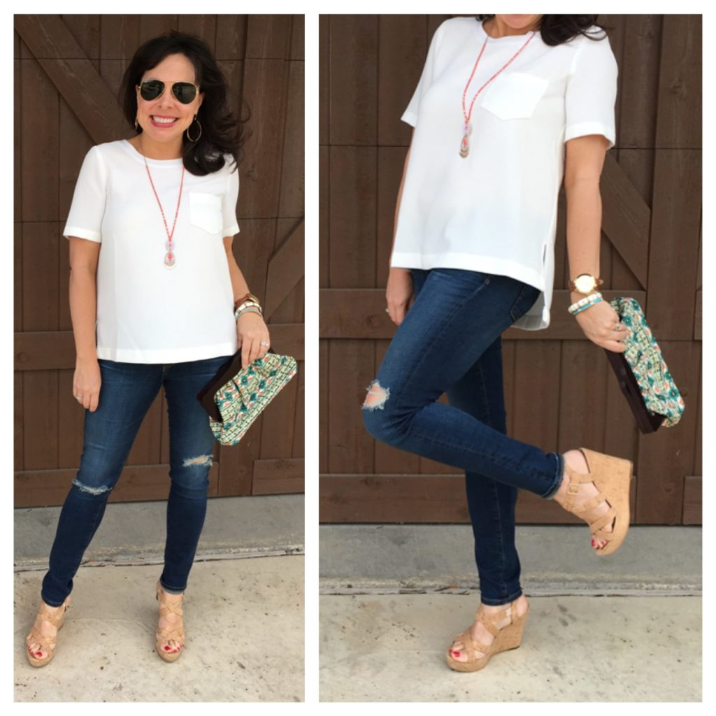 ag skinny ankle jeans and wedges
