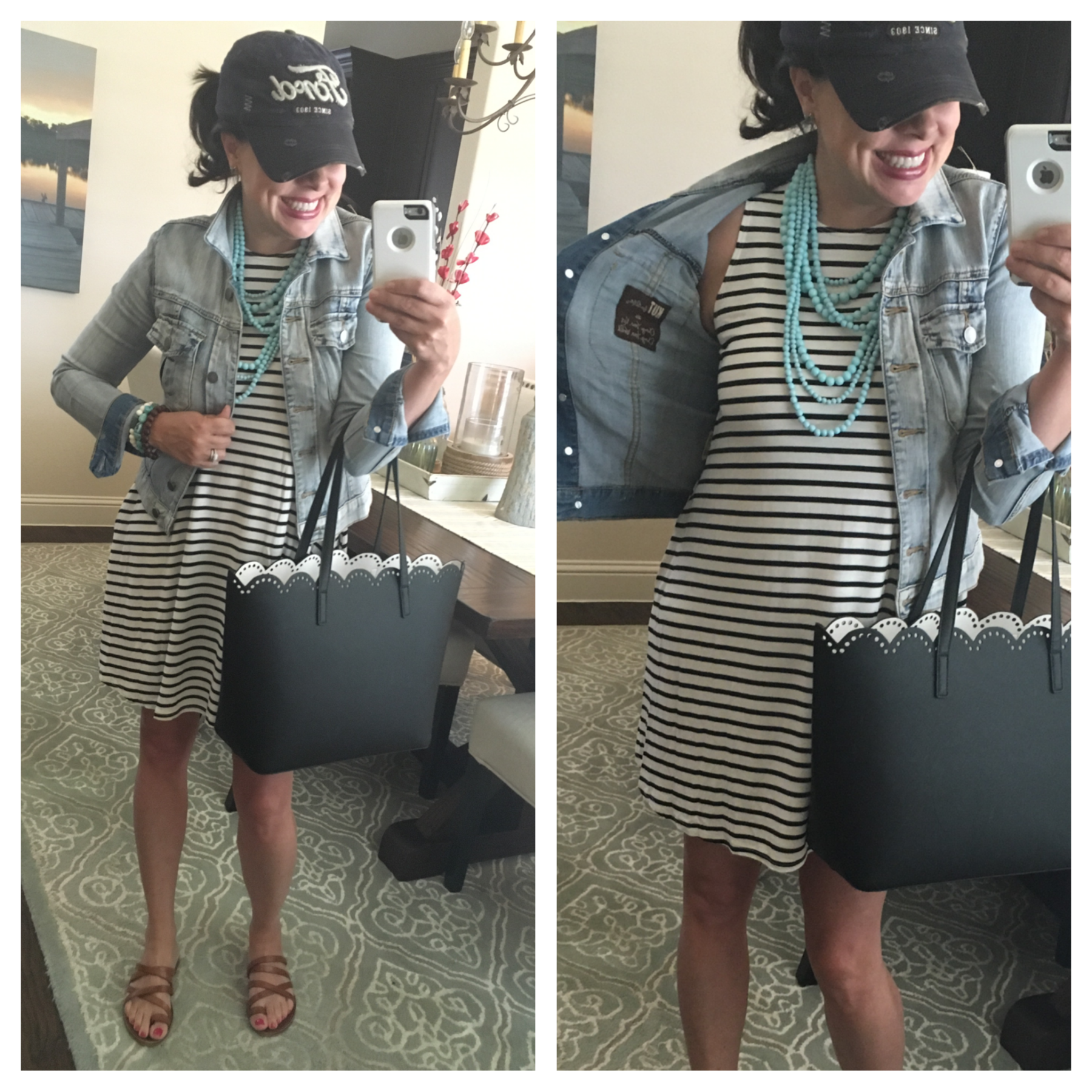 striped dress and turquoise necklace