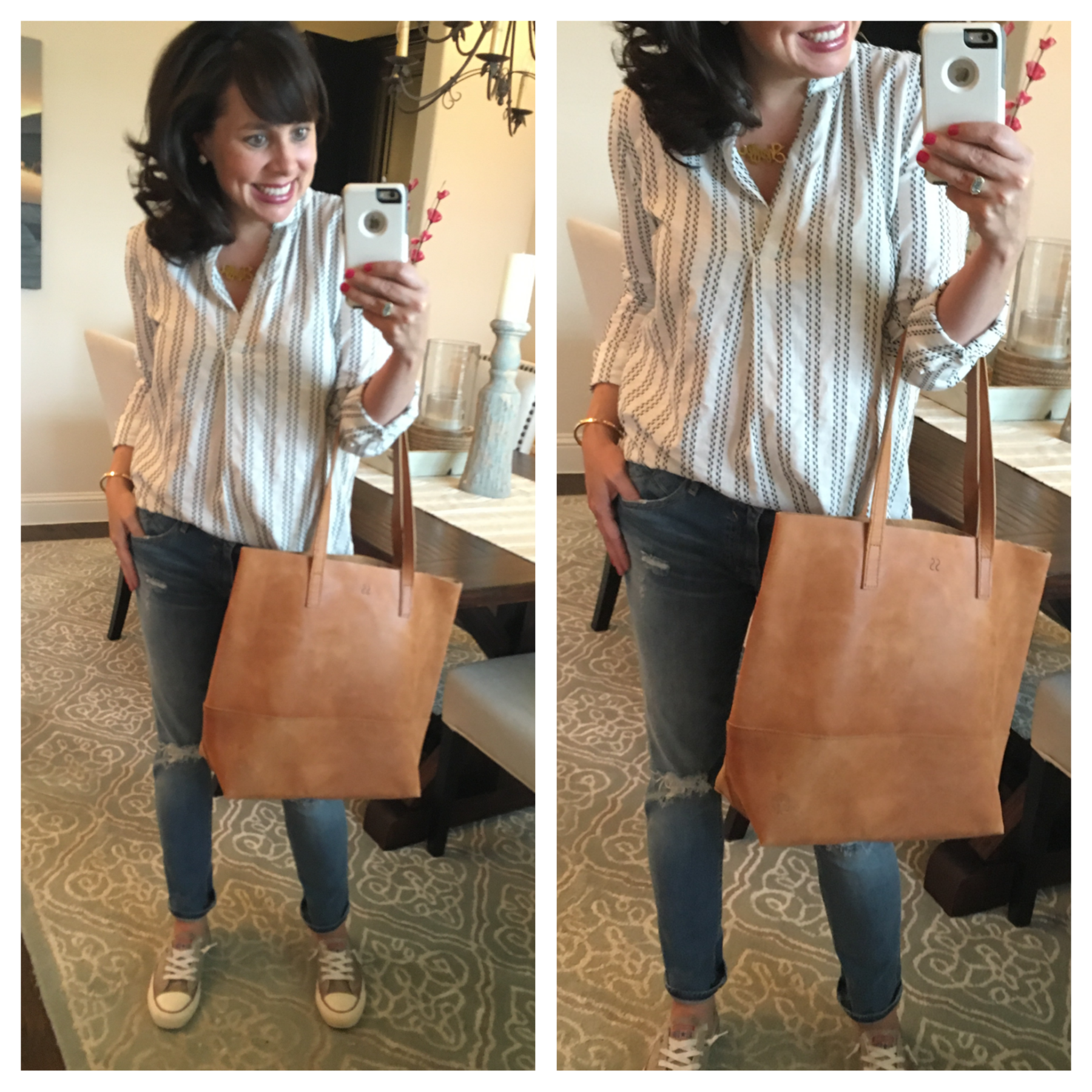 fashionable leather tote