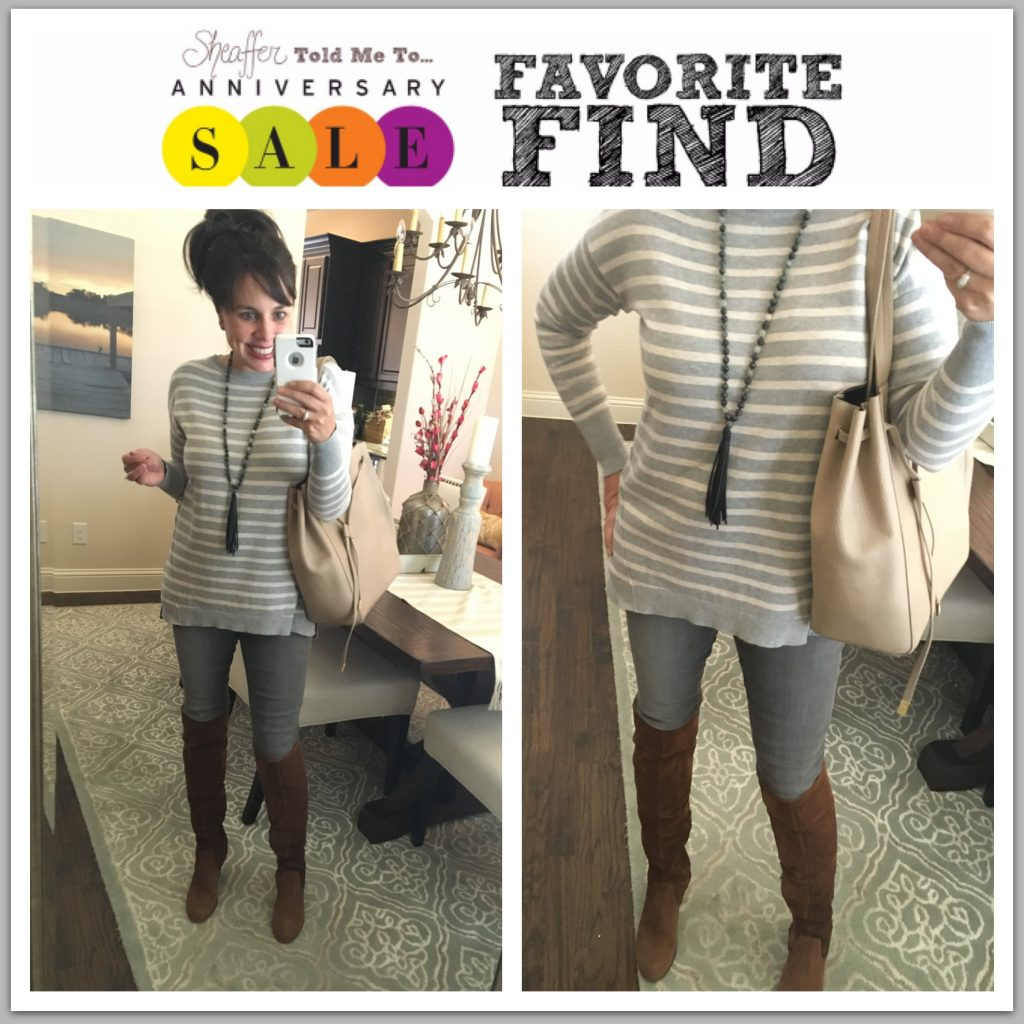 Nordstrom Anniversary Sale Striped Sweater and Grey Jeans