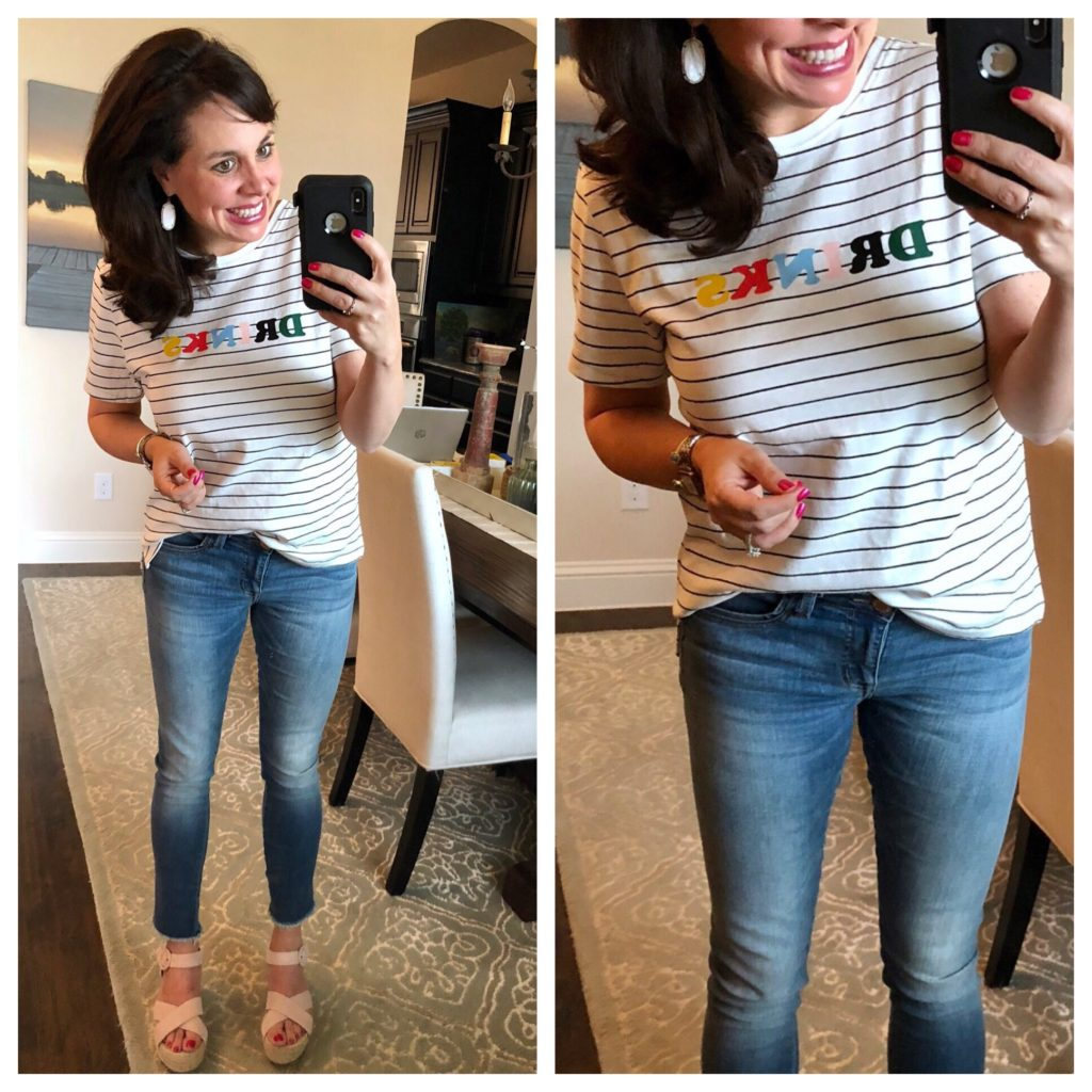 striped drinks tee and lightweight summer jeans