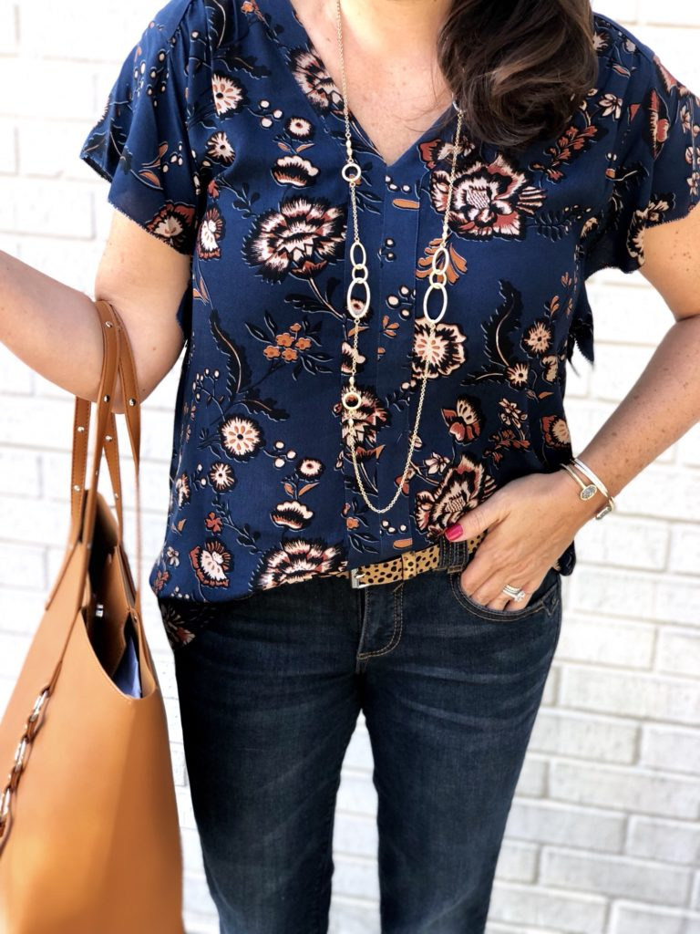 Navy Floral Shirt with Leopard Print Belt and Cognac Tote