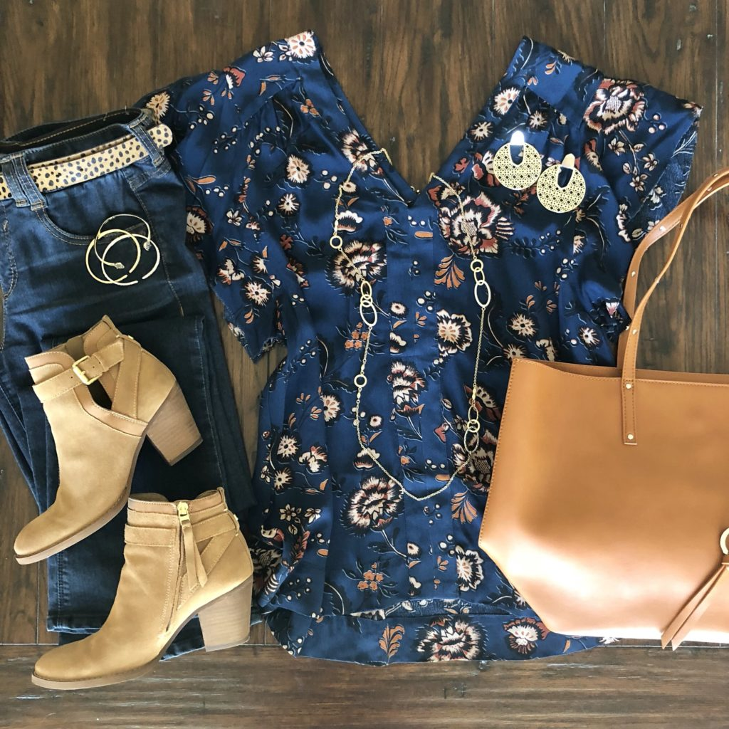 Navy Floral, Gold, and Leopard for Fall