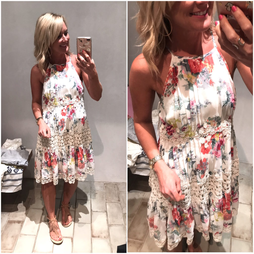 anthropologie floral and lace dress
