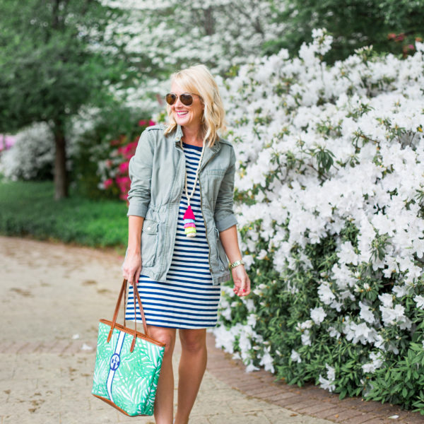 striped tshirt dress spring outfit