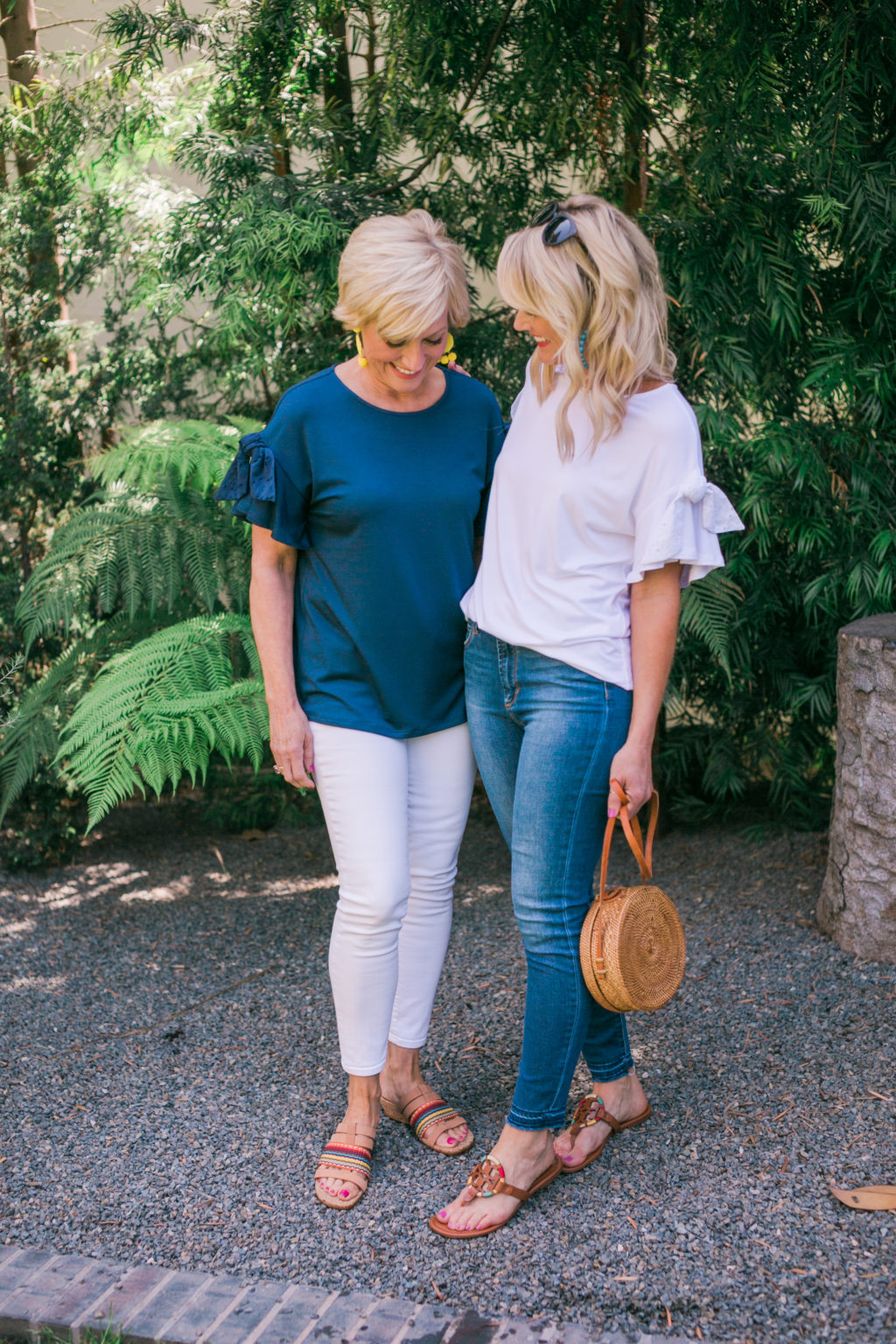 gibson hi sugarplum nordstrom collection kahala tie sleeve top in navy and white