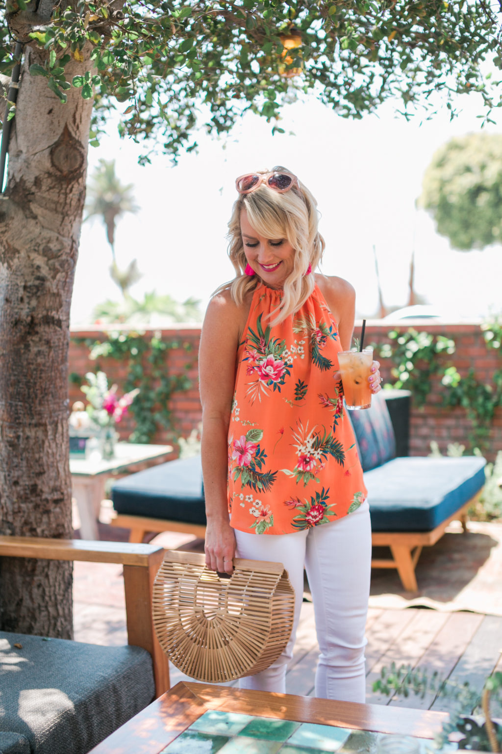 gibson hi sugarplum nordstrom collection maroma halter top in coral floral print