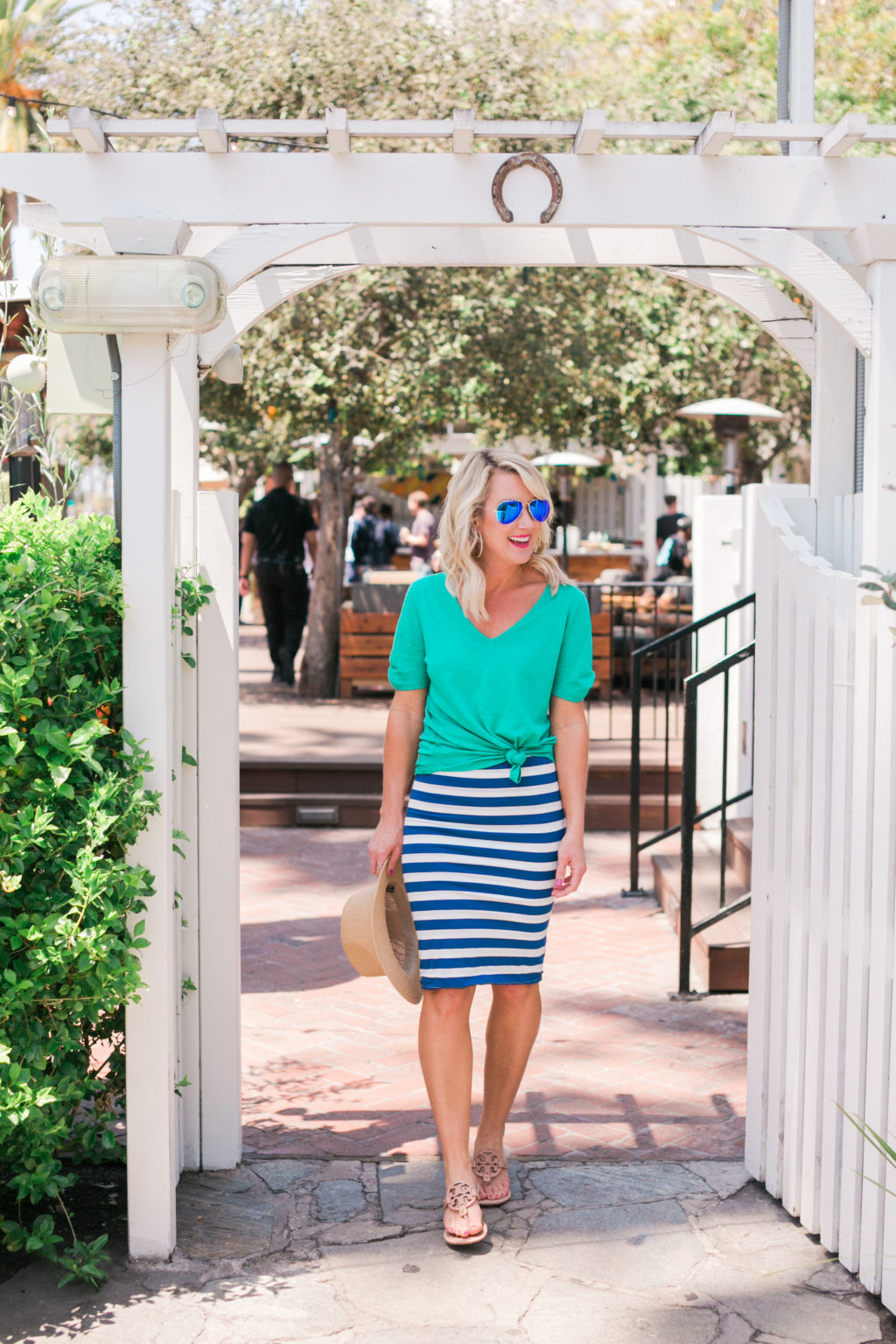 gibson hi sugarplum nordstrom collection fornillo pencil skirt in blue stripe with anna maria twist sleeve tee in bold green