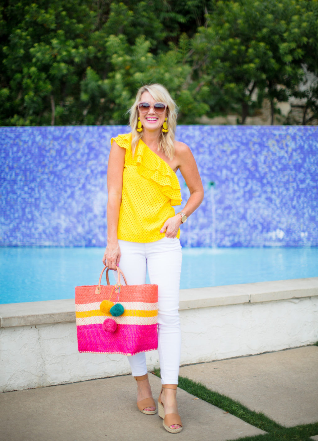 yellow and pink summer outfit