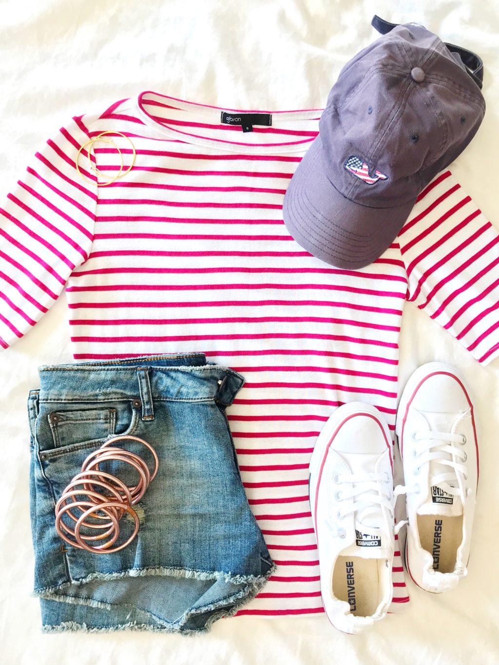 classic breton stripe shirt outfit idea with white converse sneakers for the fourth of july