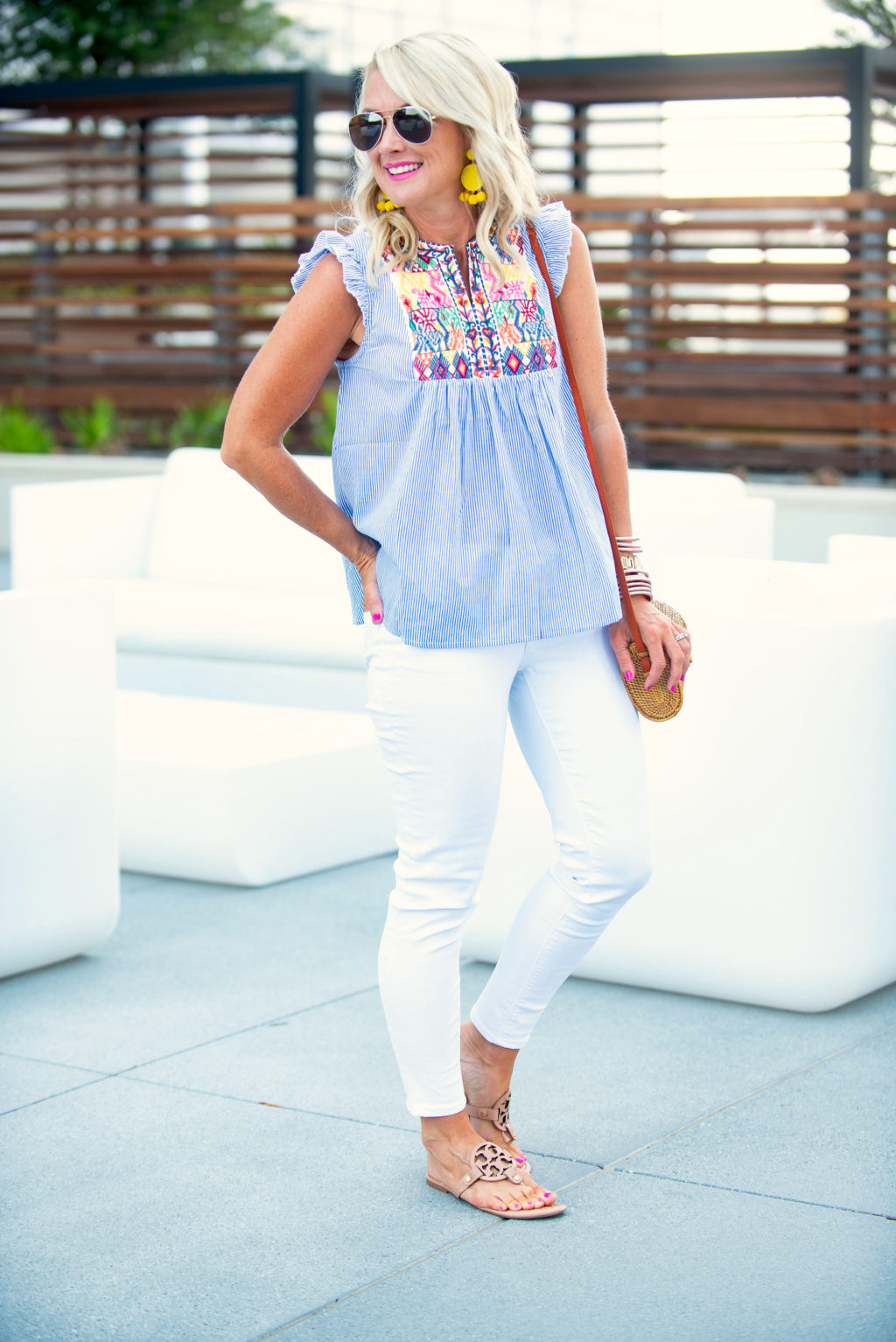 amazon prime day fashion deal outfit embroidered top white jeans tory burch flip flop sandals