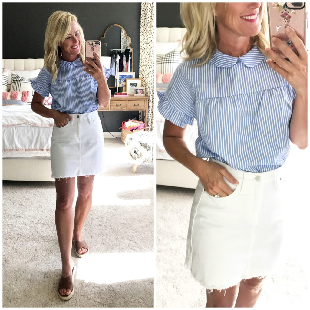 amazon prime day fashion deal outfit blue and white striped peter pan collar top