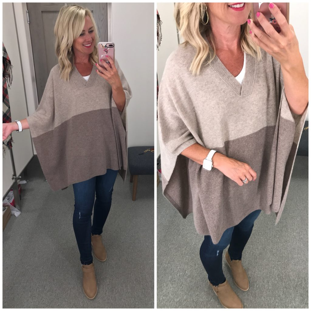 nordstrom anniversary sale outfit halogen colorblock cashmere poncho eileen fisher ives booties