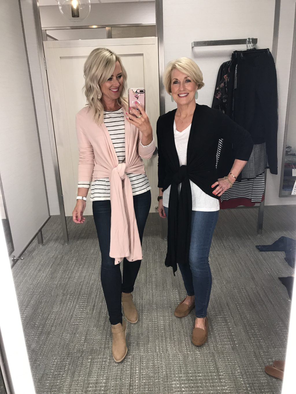 nordstrom anniversary sale gibson convertible cozy fleece wrap cardigan pink and black