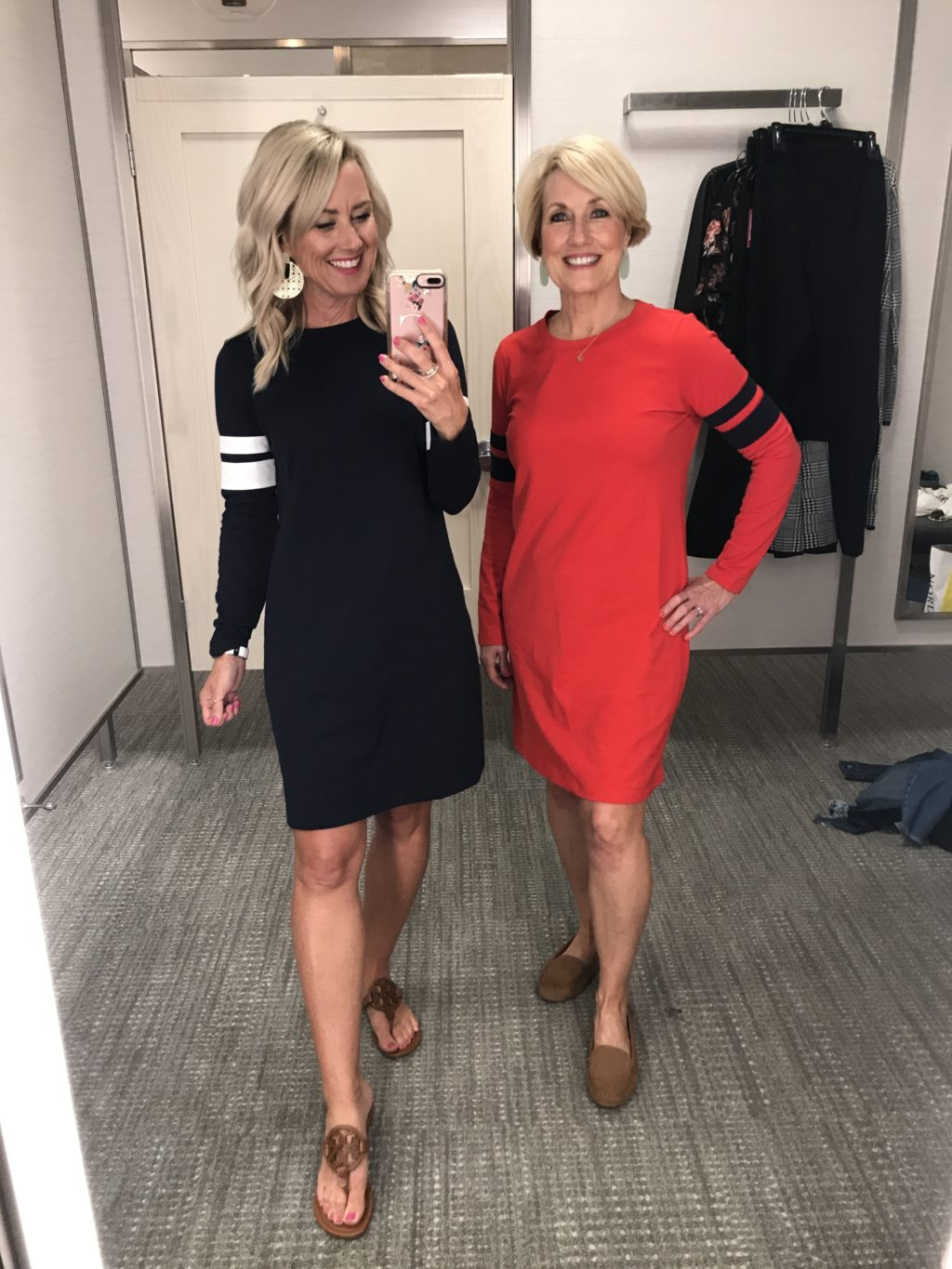 nordstrom anniversary sale outfit 1901 varsity knit shift dress black and red