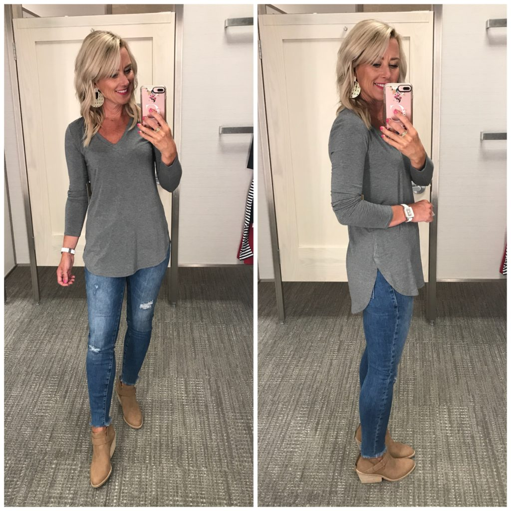 nordstrom anniversary sale outfit halogen v neck tunic eileen fisher ives booties