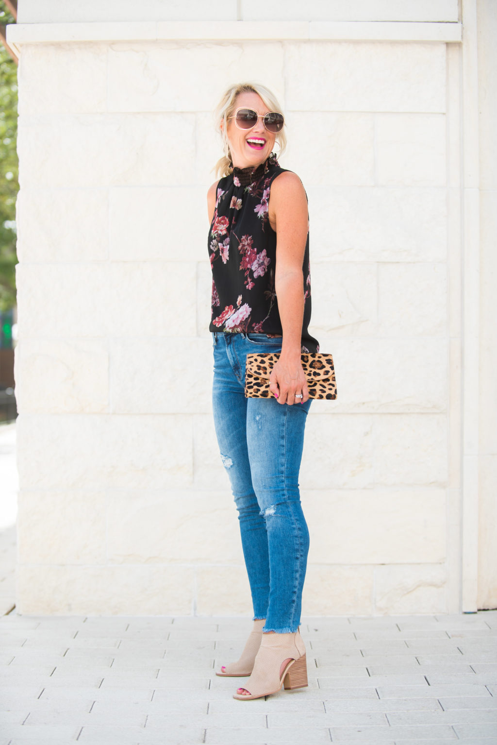 vince camuto black floral blouse date night