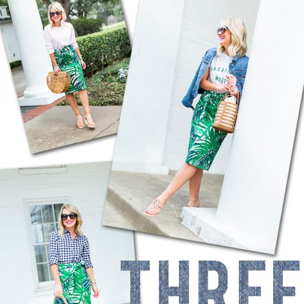 palm skirt outfit 3 ways